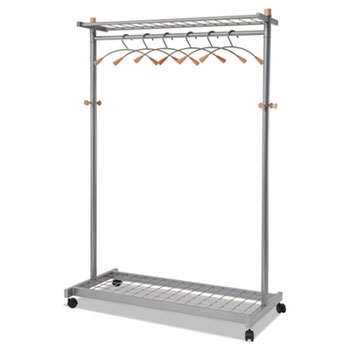 Alba™ Garment Racks, Two-Sided, 2-Shelf Coat Rack, 6 Hanger/6 Hook, Silver Steel/Wood