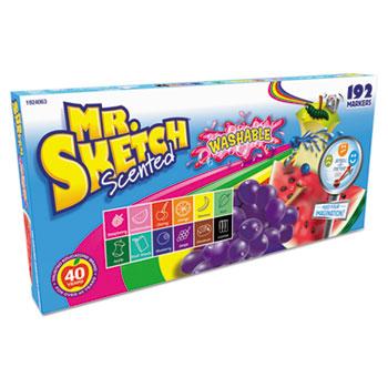 Mr. Sketch® Washable Markers, Chisel, Assorted Colors, 192/Set