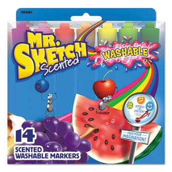 Mr. Sketch® Washable Markers, Chisel, Assorted Colors, 14/Set