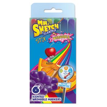 Mr. Sketch® Washable Markers, Stix, Assorted Colors, 6/Set