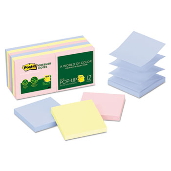 Post-it® Recycled Pop-up Notes, 3 x 3, Assorted Helsinki Colors, 100-Sheet, 12/Pack
