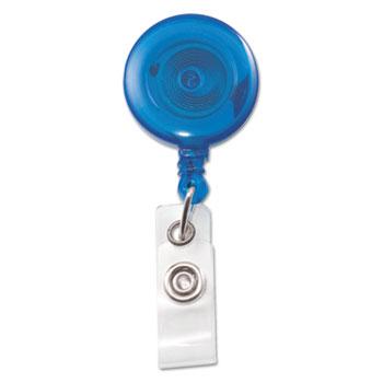 "Advantus Translucent Retractable ID Card Reel, 34"" Extension, Blue, 12/Pack"