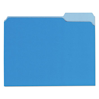 Interior File Folders, 1/3-Cut Tabs, Letter Size, Blue, 100/Box