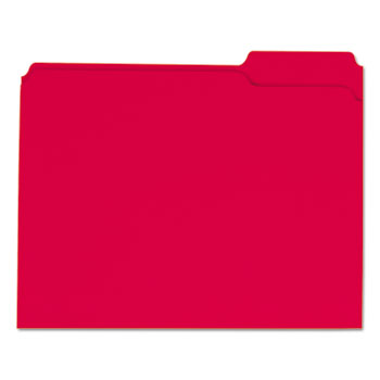 Universal® Reinforced Top-Tab File Folders, 1/3-Cut Tabs, Letter Size, Red, 100/Box