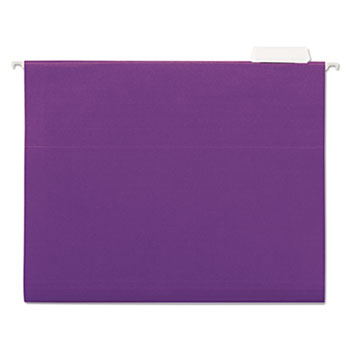Universal® Deluxe Bright Color Hanging File Folders, Letter Size, 1/5-Cut Tab, Violet, 25/Box