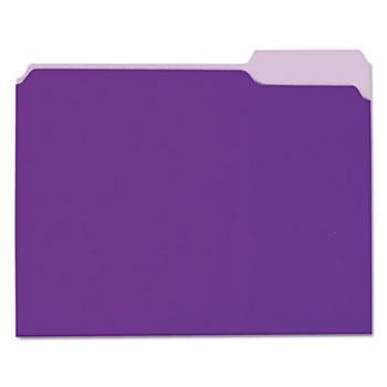 Universal Interior File Folders, 1/3-Cut Tabs, Letter Size, Violet, 100/Box