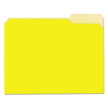 Universal® Interior File Folders, 1/3-Cut Tabs, Letter Size, Yellow, 100/Box
