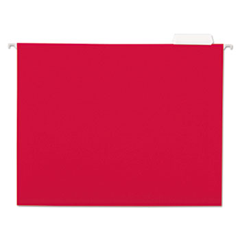 Universal Deluxe Bright Color Hanging File Folders, Letter Size, 1/5-Cut Tab, Red, 25/Box