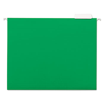 Universal® Deluxe Bright Color Hanging File Folders, Letter Size, 1/5-Cut Tab, Bright Green, 25/Box