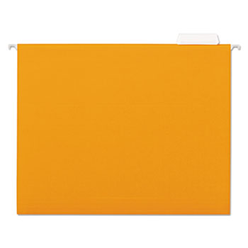 Universal® Deluxe Bright Color Hanging File Folders, Letter Size, 1/5-Cut Tab, Orange, 25/Box
