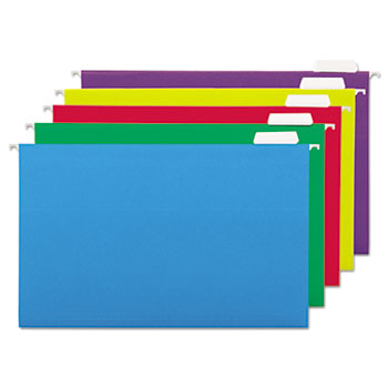 Universal® Deluxe Bright Color Hanging File Folders, Legal Size, 1/5-Cut Tab, Assorted, 25/Box