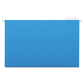 Universal Deluxe Bright Color Hanging File Folders, Legal Size, 1/5-Cut Tab, Blue, 25/Box