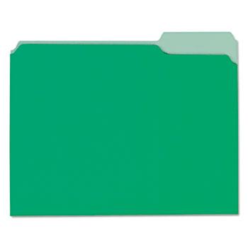 Interior File Folders, 1/3-Cut Tabs, Letter Size, Green, 100/Box