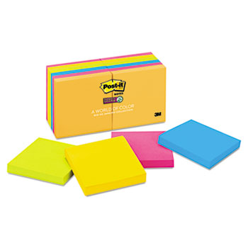 Post-it® Notes Super Sticky, Pads in Rio de Janeiro Colors, 3 x 3, 90-Sheet, 12/Pack