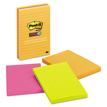 Notes Super Sticky, Pads in Rio de Janeiro Colors, Lined, 4 x 6, 90-Sheet, 3/PK