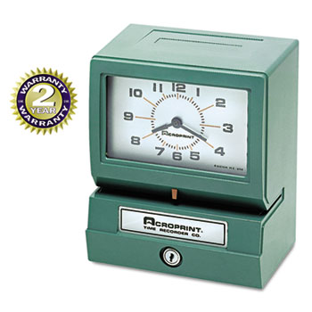 Acroprint® Model 150 Analog Automatic Print Time Clock with Month/Date/1-12 Hours/Minutes