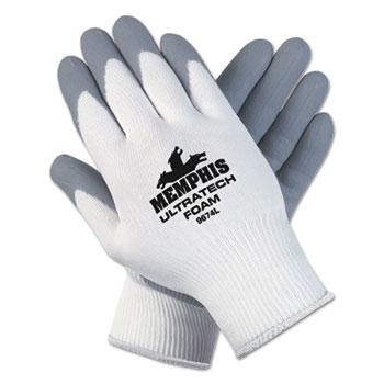 Memphis™ Ultra Tech Foam Seamless Nylon Knit Gloves, Medium, White/Gray, 12 PR/PK