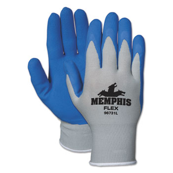 Memphis™ Memphis Flex Seamless Nylon Knit Gloves, Large, Blue/Gray, Pair