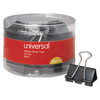 Binder Clips in Dispenser Tub, Medium, Black/Silver, 24/Pack