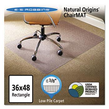 ES Robbins Natural Origins Chair Mat For Carpet, 36 x 48, Clear