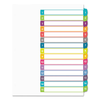 Customizable Table of Contents Dividers, Ready Index® Printable Section Titles, Preprinted 1-15 Arched Multicolor Tabs