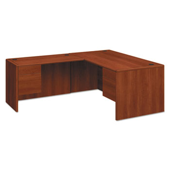 """10700 Series """"L"""" Desk, 3/4 Right Pedestal, 66w x 30d x 29 1/2h, Cognac"""
