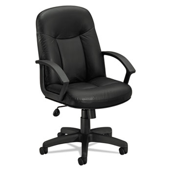 VL601 Series Leather High-Back Swivel/Tilt Chair, Metal, 26 x 33 1/2 x 43, Black