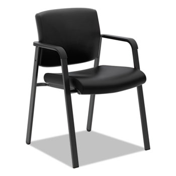 HON® VL605 Guest Chair, Black Leather