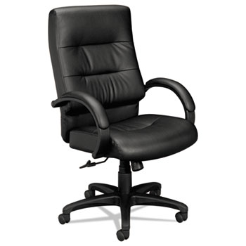 HON® VL690 Series Executive High-Back Leather Chair, Black Leather