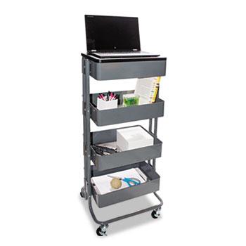 Vertiflex® Multi-Use Storage Cart/Stand-Up Workstation, 14 3/4w x 17d x 18 1/2-39d, Gray