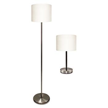 "Ledu® Slim Line Lamp Set, Table 12 5/8"" High and Floor 61 1/2"" High, Silver/White"