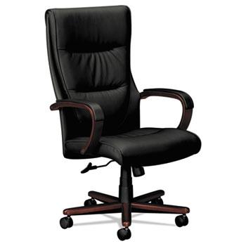 HON® VL844 Series High-Back Swivel/Tilt Chair, Black Leather/Mahogany