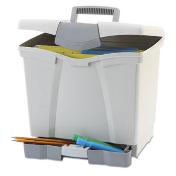 Storex Portable File Storage Box w/Drawer, Letter, Latch, Black