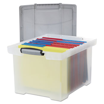 Storex Portable File Tote w/Locking Handle Storage Box, Letter/Legal, Clear