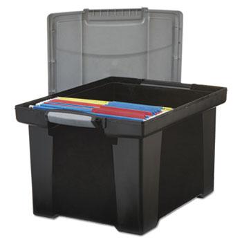 Storex Portable File Tote w/Locking Handle Storage Box, Letter/Legal, Black/Silver