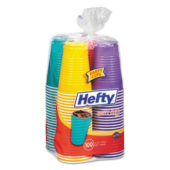 Hefty® Easy Grip Disposable Plastic Party Cups, 16 oz, Assorted, 100/Pack