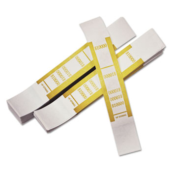 PM Company® Self-Adhesive Currency Straps, Mustard, $10,000 in $100 Bills, 1000 Bands/Pack