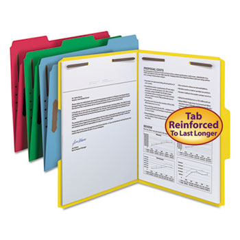 Smead® Folders, Two Fasteners, 1/3 Cut Top Tab, Letter, Assorted, 50/Box