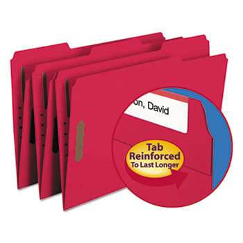 Smead® Folders, Two Fasteners, 1/3 Cut Assorted, Top Tab, Legal, Red, 50/Box