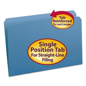 Smead® File Folders, Straight Cut, Reinforced Top Tab, Legal, Blue, 100/Box