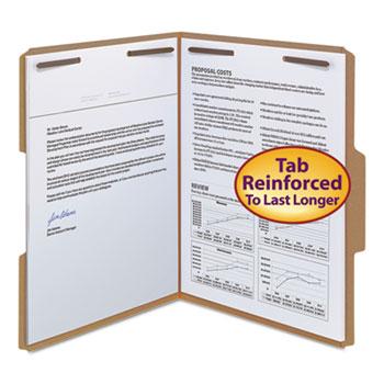 Smead® 11 Point Kraft Folders, Two Fasteners, 1/3 Cut Top Tab, Letter, Brown, 50/Box