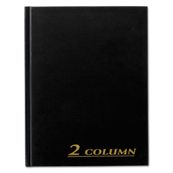 "Account Book, 2 Column, Black Cover, 80 Pages, 7"" x 9 1/4"", 6/CT"