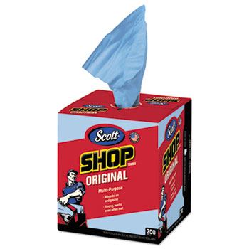 Shop Towels, Blue, Double Recrepe, 10 x 13, 200/Box, 8 Boxes/Carton
