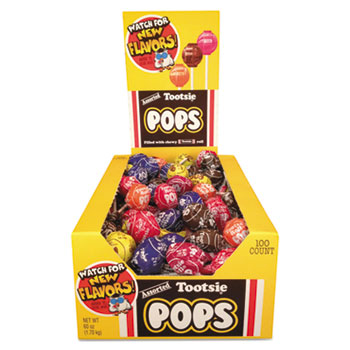 Tootsie Roll® Pops, 0.76 oz, Assorted Flavors, 100/BX