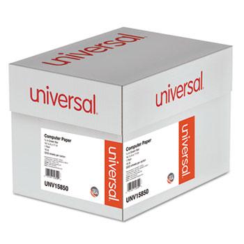 Universal Printout Paper, 1-Part, 15lb, 14.88 x 11, White/Green Bar, 3,000/Carton