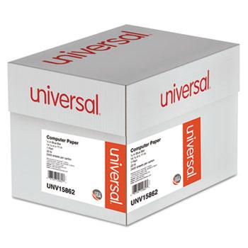 Universal® Printout Paper, 1-Part, 20lb, 14.88 x 11, White/Blue Bar, 2, 400/Carton
