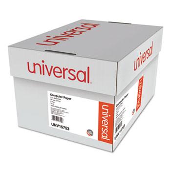 Universal Printout Paper, 2-Part, 15lb, 14.88 x 11, White/Green Bar, 1,650/Carton