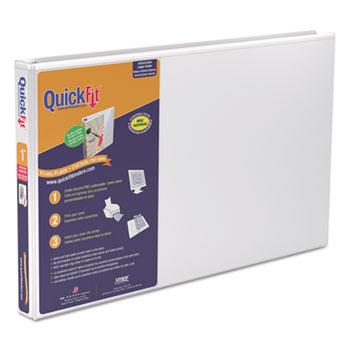 "QuickFit Ledger D-Ring Binder, 1"" Capacity, 11 x 17, White"
