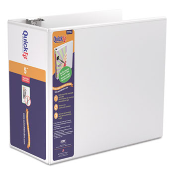 """Stride QuickFit D-Ring View Binder, 5"""" Capacity, 8 1/2 x 11, White"""