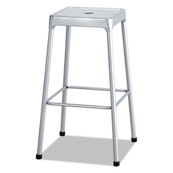 Safco® Bar-Height Steel Stool, Silver
